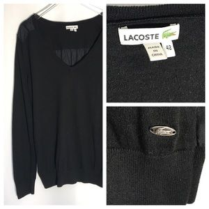 Lacoste Black Pullover Vneck Sweater Size 42